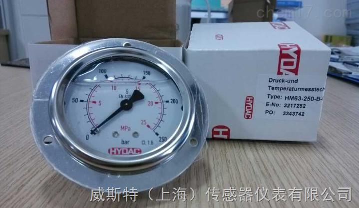 HYDAC压力表 HM63-250-R-M14x1.5防震