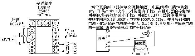 基本误差:0.2%FS,14位A/D转换器(最大18位A/D转换器,订货时注明) 输入信号:热电偶:B、S、K、E、J、T、WRe 等 热电阻:Pt100、Cu50、Cu53、Cu100、BA1、BA2 电 流:0~10mA、4~20mA等(输入阻抗≤250Ω) 电 压: 0~5V、1V~5V、mV等(输入阻抗≥1MΩ) 远传压力电阻:(0~400)Ω 采样周期:0.