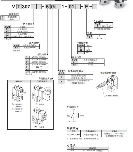 电磁阀vt307-4g-01 smc阀代理