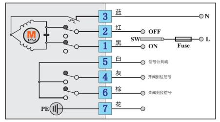 ac220v ac110v 电动阀接线图  反馈电阻信号图片