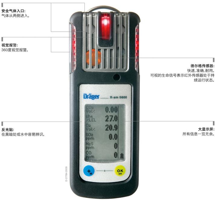 德尔格便携式复合气体检测仪X-am5600