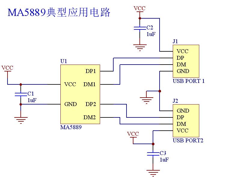 """MA5889经典设计电路。 通常,一个USB充电器充电机制提供了统一的传统的USB电源(0.5A)设备通过USB端口充电时。一个USB启用USB充电器符合公元前,它提供了收费机制的统一更多的USB电源电流(高达1.5A的充电设备通过USB端口)时,所谓的""""快速充电""""机制。换句话说,MA5889是一个高性能的解决方案""""快速充电""""机制,加快充电时间。 MA5889嵌入式自动充电器检测电路符合USB电池充电规格(BC)版本1."""